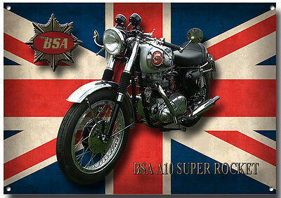 Bsa A10 Super Rocket Motorcycle Metal Sign (A3) Size.vintage Bsa Motorcycles.