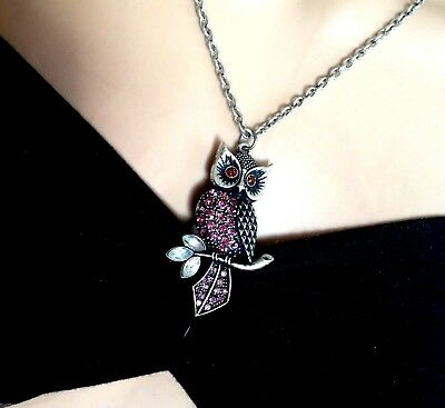 Gorgeous Lilac Pinks Crystals Vintage Silver Owl Gifts for Girls Friend Sister