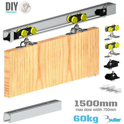Sliding Door Track Gear System for up to 60kg/1500mm (1 door) top hung kit set
