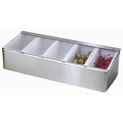 Stainless Steel 5 Compartment Condiment Dispenser Caddy, Commercial Quality, NEW