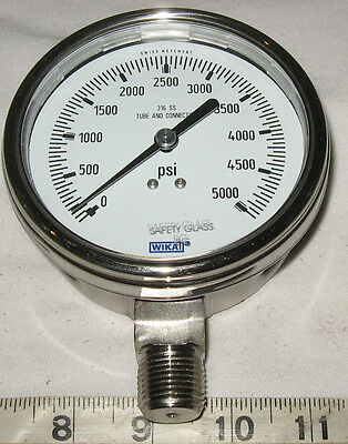 "Stainless Steel  4"" Dia.Hi-Pressure Gauge 0-5000 PSI ,1/2"" NPT **FREE SHIPPING**"