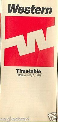 Airline Timetable - Western - 01/05/82