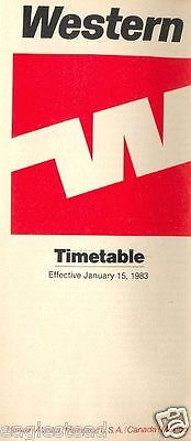 Airline Timetable - Western - 15/01/83