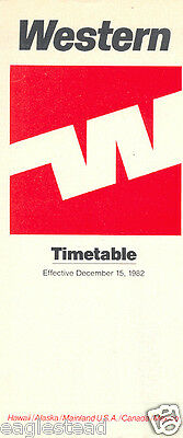 Airline Timetable - Western - 15/12/82