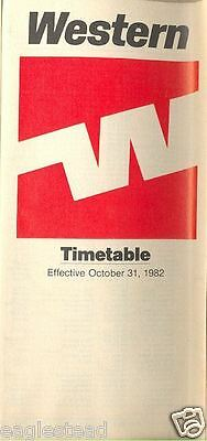 Airline Timetable - Western - 31/10/82