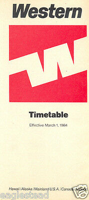 Airline Timetable - Western - 01/03/84