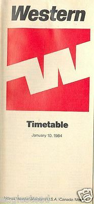 Airline Timetable - Western - 10/01/84