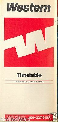 Airline Timetable - Western - 28/10/84