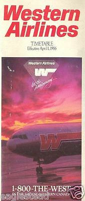 Airline Timetable - Western - 01/04/86 - 60th Anniversary