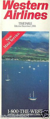 Airline Timetable - Western - 01/12/85 - New Maui Service