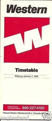 Airline Timetable - Western - 07/01/85