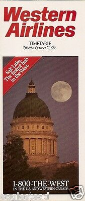 Airline Timetable - Western - 27/10/85
