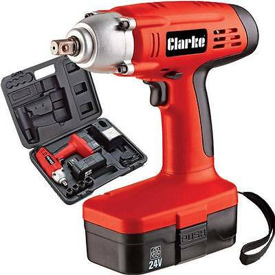 Clarke CIR220 24V Cordless Impact Wrench. Fast 1 hr charging, Includes 4 Sockets
