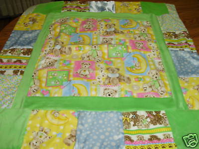 BLUE BABY FIRST TEDDY BEAR SWEET DREAM TEDDY BEARS COTTON FLANNEL BABY QUILT NEW