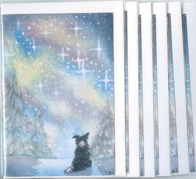 6 x Border Collie holiday Christmas greeting cards by Susan Alison starry night