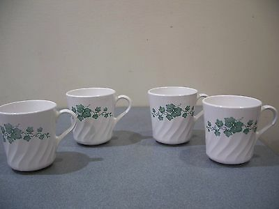 corelle callaway ivy dinnerware set 4 coffee cups mugs green white swirl