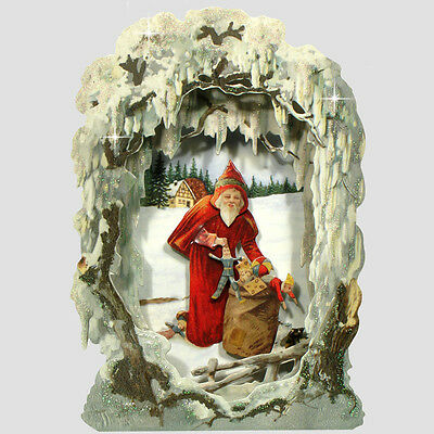 36 Pop-up Victorian Peepshow of Frosted Winter Scene Christmas Cards