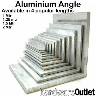 Aluminium Extruded Angle - 1000mm - 2000mm long - Various Sizes