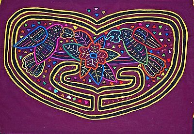 South American Reverse Appliqué Mola Textile Fabric Stitched Kuna Tribal Women
