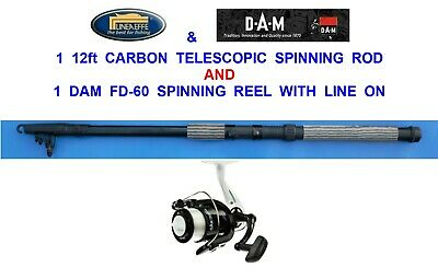 2 CARBON 12ft TELESCOPIC RODS+SOL REELS SEA COARSE FISHING SPINNING BASS PIKE