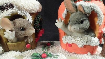 Cute Charming Tails Mouse & Bunny 87/622 Merry Christmas From Our House to Yours
