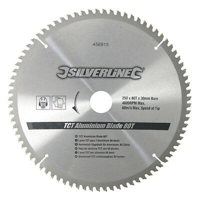 250mm 80T Aluminium Circular Saw Blade 30mm Bore 25mm 20mm 16mm Rings Mitre 10""