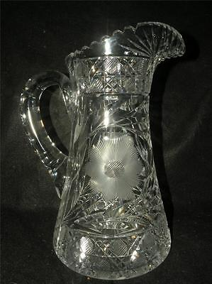 Antique American Brilliant Cut Glass Pitcher Tankard Very Nice