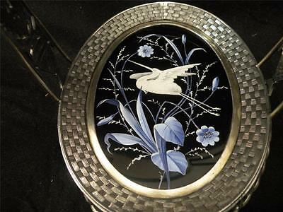 ANTIQUE SILVERPLATE CALLING CARD TRAY WITH  COBALT ENAMELED ART GLASS INSERT