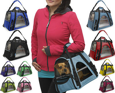 Pet Carrier Soft Sided Cat Dog Comfort Travel Tote Bag Airline Approved