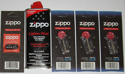 3 Packs of 6 Genuine Zippo Flints, 1 Wick, and 4 oz Can Lighter Fluid FREE SHIP