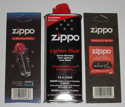 Zippo 1 Pack of 6 Flints, 1 Wick, and 4 oz Can Lighter Fluid FREE SHIPPING