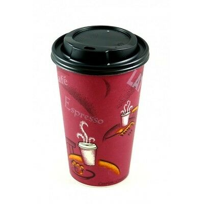 100X Bistro 16oz Paper Cup & Black Sip Lids Insulated Tea Coffee Disposable Cups