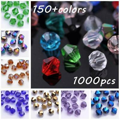 Wholesale 1000pcs 4mm Bicone Faceted Crystal Glass Loose Spacer Beads lot Bulk