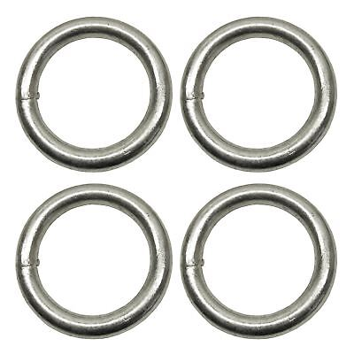 10mm x 50mm Steel Round O Rings Welded Zinc Plated 4 Pack DK35