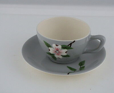 WEIL WARE CALIFORNIA POTTERY DOGWOOD PATTERN GRAY CUP & SAUCER