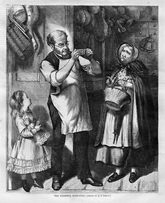 Old Woman Gives Merchant Store Owner The Doubtful Banknote Young Girl And Doll