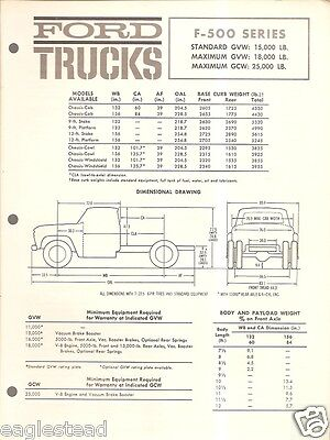 Truck Brochure - Ford - F-500 series - Specifications - 1962 (TB272)