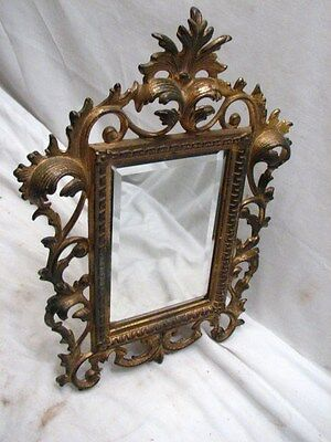 Antique Cast Iron Art Nouveau Ornate Picture Stand Frame Beveled Mirror Glass