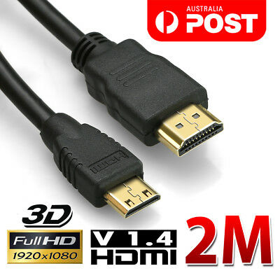 2M Mini HDMI to HDMI Cable V1.4 3D with Ethernet HD 1080p For Tablet Cell Phone