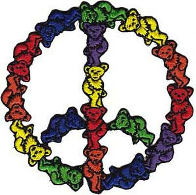 Grateful Dead - Bear Peace Sign -  Iron on or Sew on Embroidered Patch P-3975