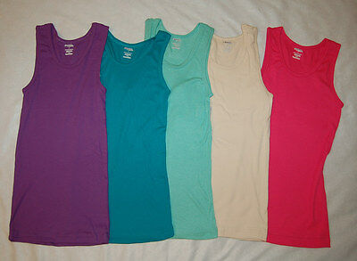 Ribbed TANK TOP Jr Womens LARGE 5 Pc Lot PURPLE Turquoise Green Beige PINK