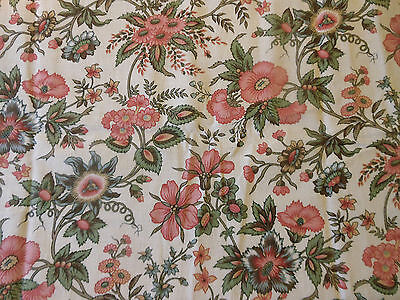 Antique French Indienne Floral Cotton Fabric ~ Passion Flower ~ Rose Tones