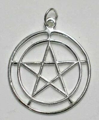2 CIRCLES 925 SILVER PENTAGRAM PENDANT 27 mm Diameter  Wicca Pagan Witch Goth