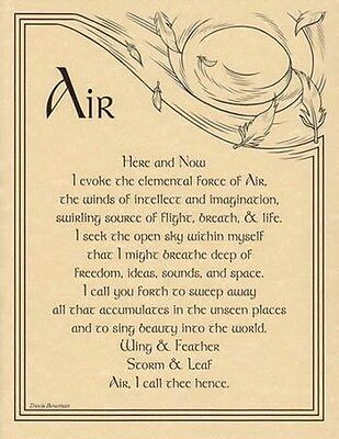 AIR INVOCATION A4 SIZE POSTER  Wicca Pagan Witch Goth BOOK OF SHADOWS PAGE
