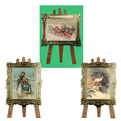 18 Artist Easel Die-cut Christmas Cards with Embossed Gilt Frame XC0040