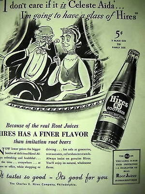 HIRES 5 cent Root Beer 1937 PROMO AD Celeste Aida OPERA