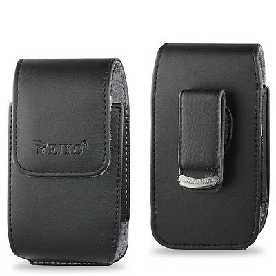 Vertical Leather Pouch Cover Holster Case Side Clip w Belt Loop