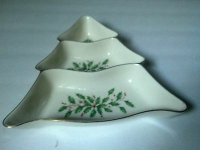 Lenox Holiday Tree Divided Server Candy Dish Centerpiece