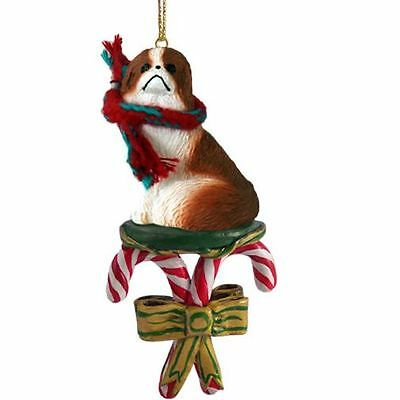 Japanese Chin Red Brown White Dog Candy Cane Christmas Tree ORNAMENT