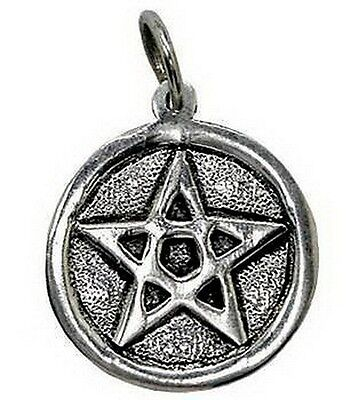WHITE METAL PENTACLE PENTAGRAM PENDANT 35 x 30 mm Wicca Pagan Witch PROTECTION